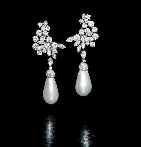 rhinestone pear and signed vintage pearls pearl shaped miriam pin haskell baroque earrings