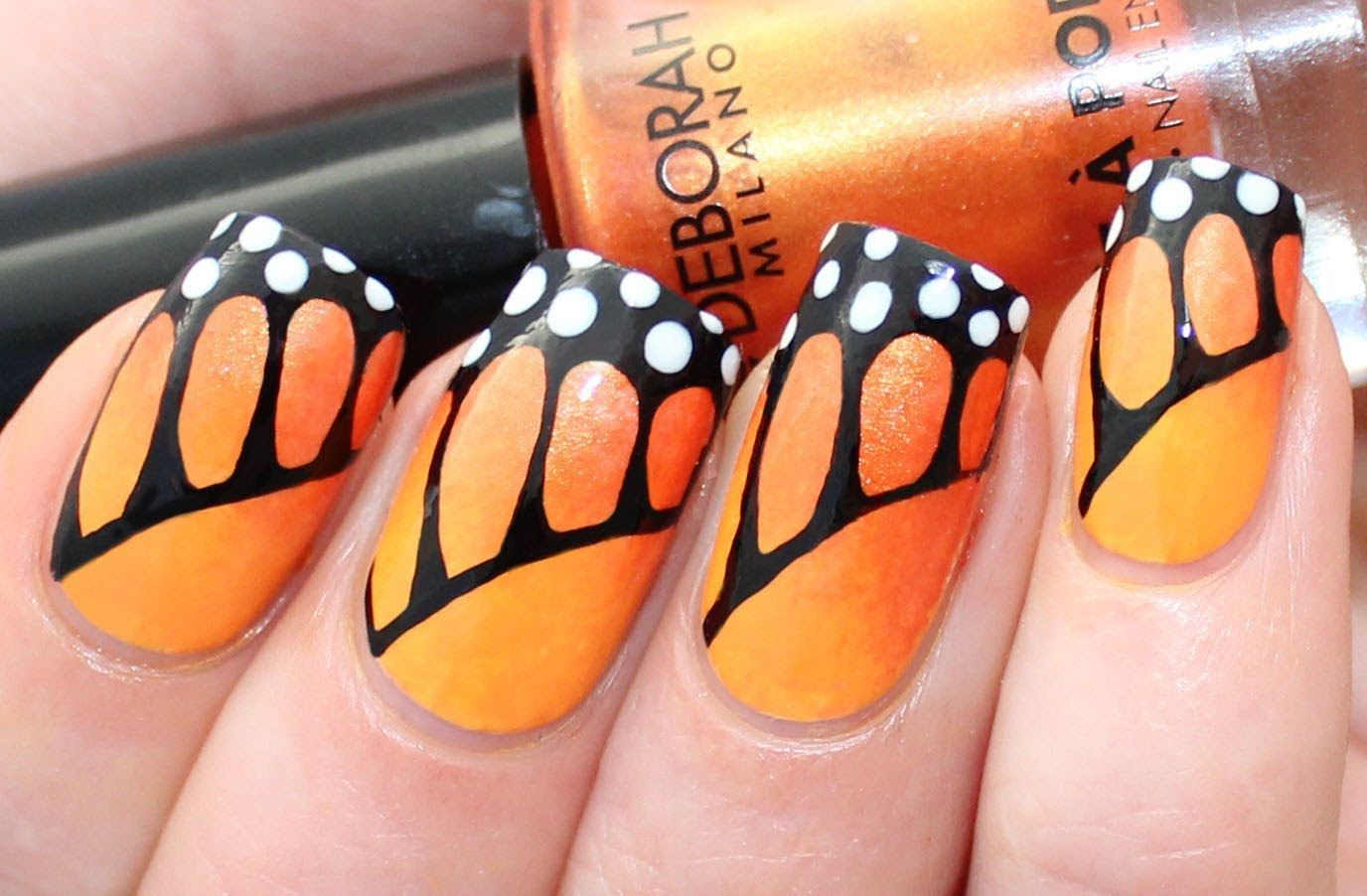 Monarch Butterfly Nail Art Tutorial For Deborah Milano Beauty Club Butterfly Nail Art Nail Art Summer Butterfly Nail