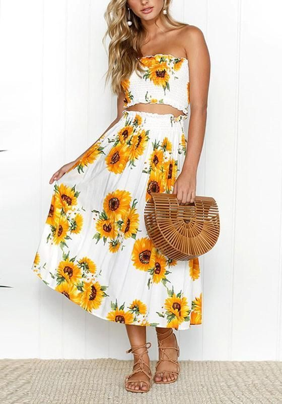 022c354806a White Sunflower Print Off Shoulder Two Piece High Waisted Beachwear  Bohemian Midi Dress