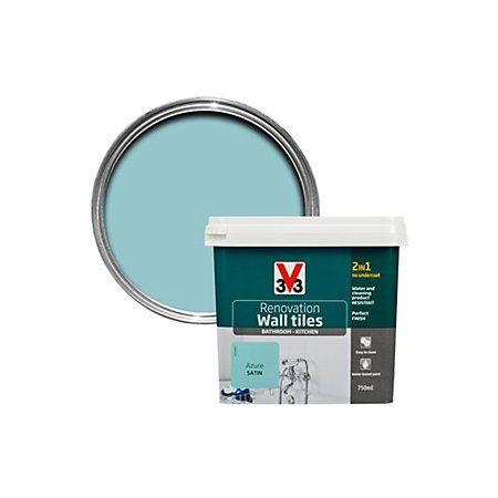 v33 renovation azure satin wall tile paint0 75l wall tiles tile