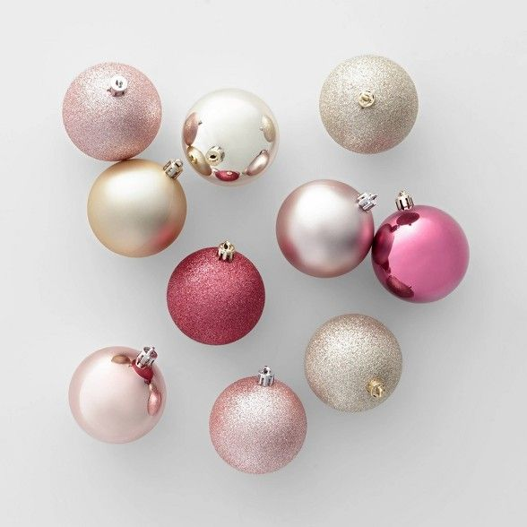 50ct 70mm Shatter Resistant Christmas Ornament Set Champagne Dusty