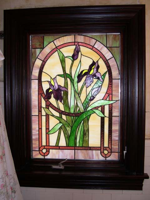 stained glass panel in the bathroom window Unknown artist