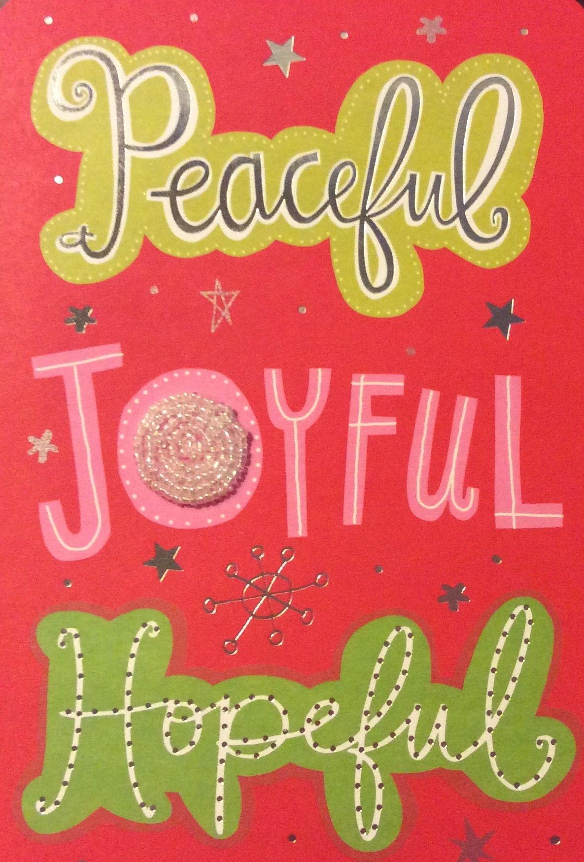 Christmas Cards Greetings Peaceful Joyful Hopeful Words