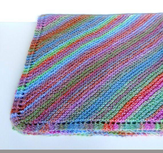 Knit Baby Blanket in Diagonal Stripes, multi colored ...