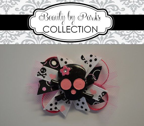 Skull n Bones Boutique Style Dog Bow by BeautybyParis on Etsy