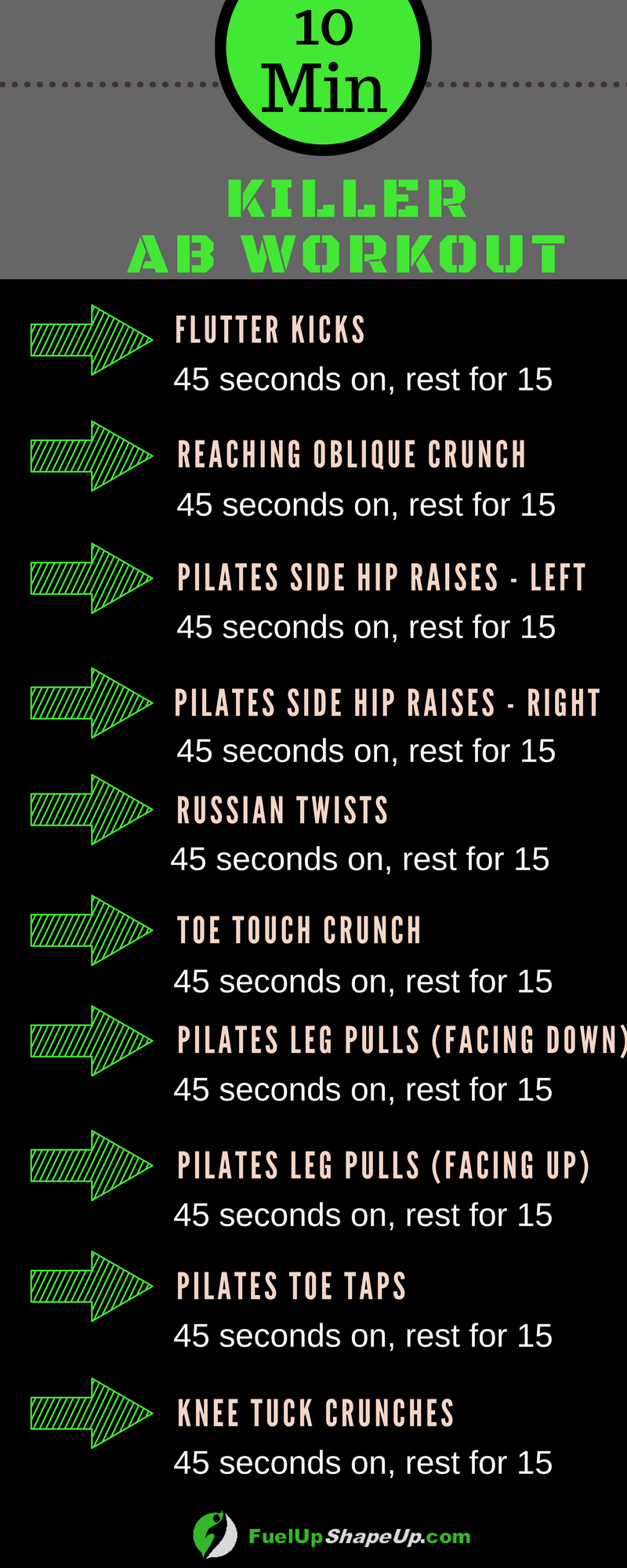 If you have 10 minutes to spare, then this ab workout is for you! It  focuses solely on building up your core strength, and creating defined abs!