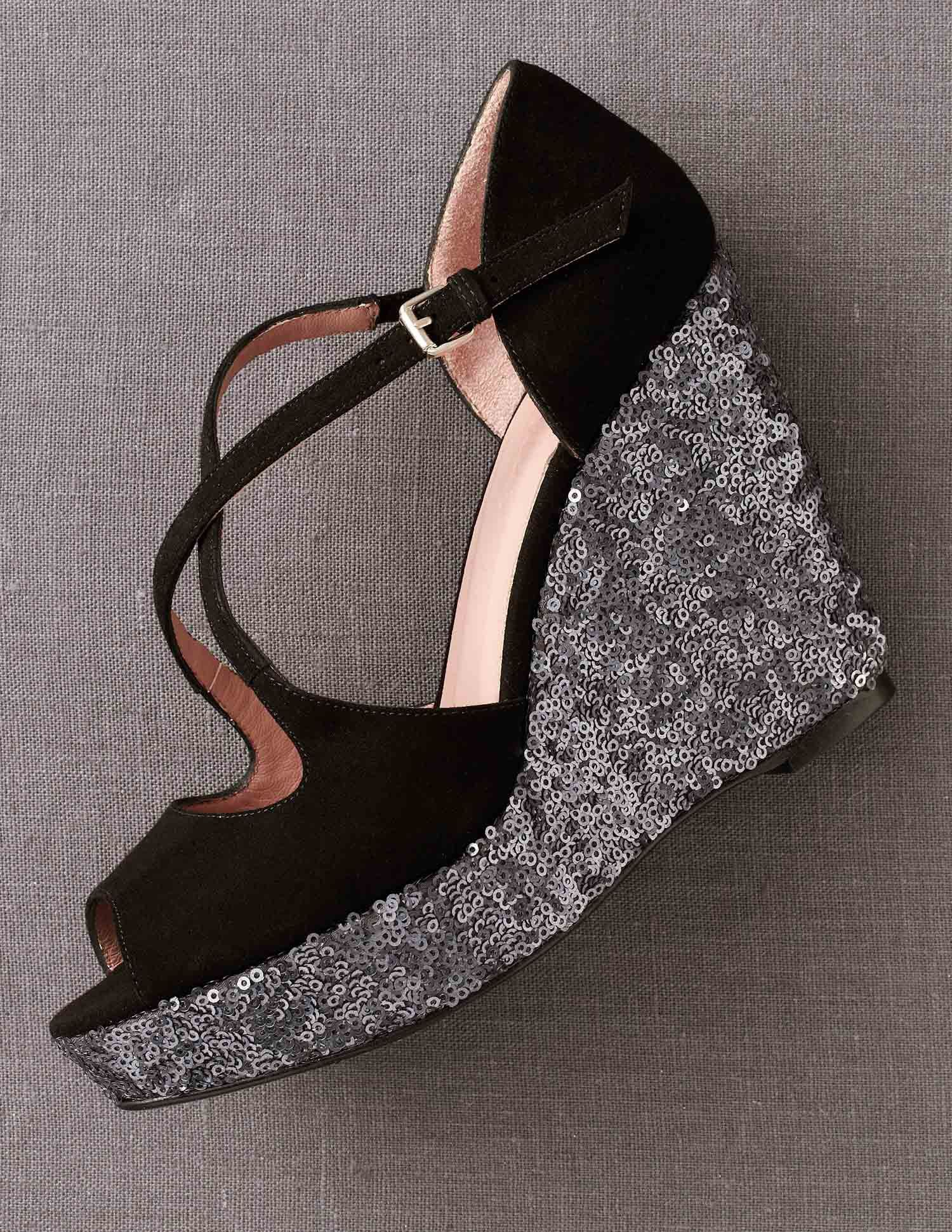 Crossover Wedges from Boden in black suede with gunmetal sequins!  LoVe!