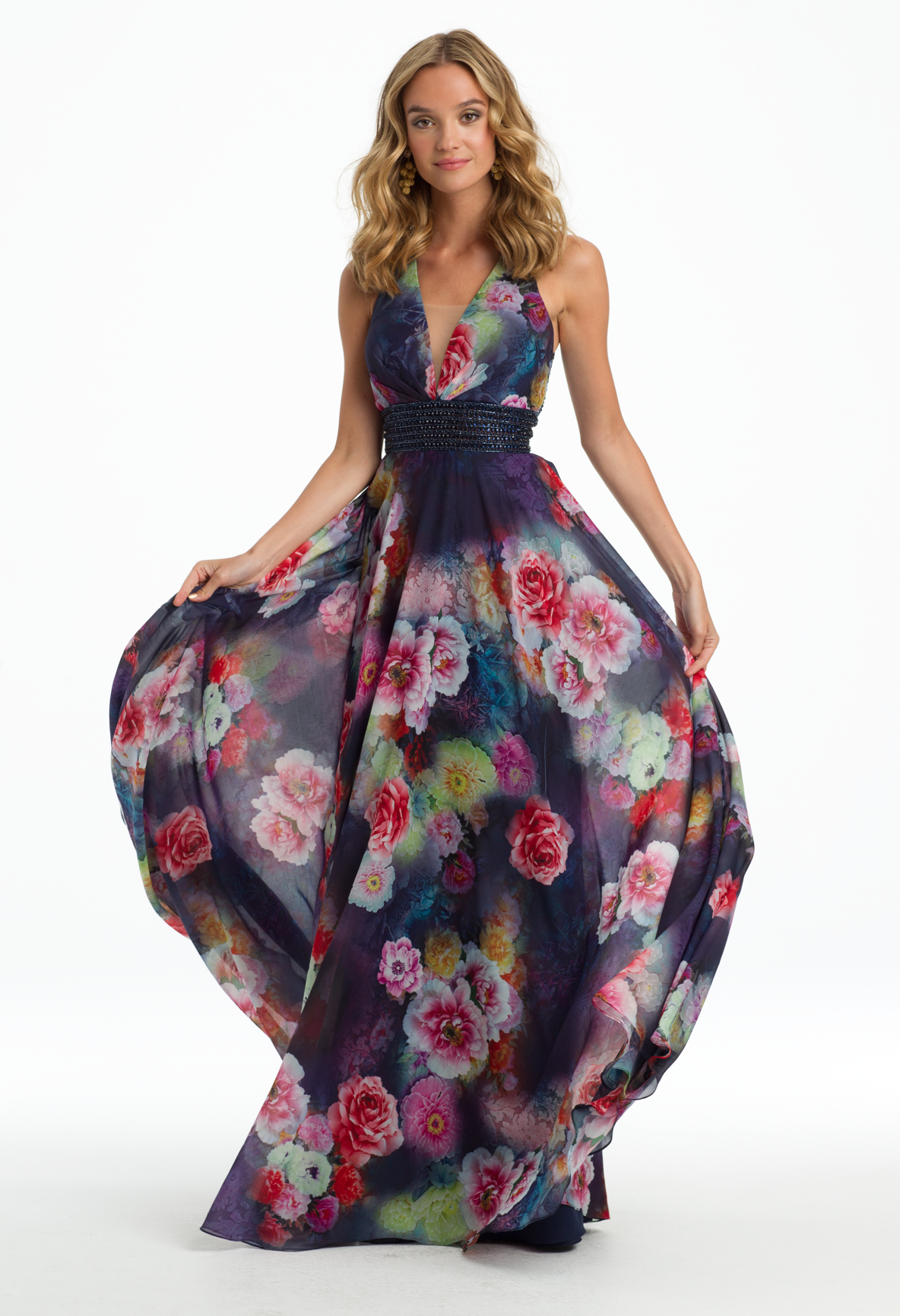 Go for a bohemian look with this breezy evening gown the plunging