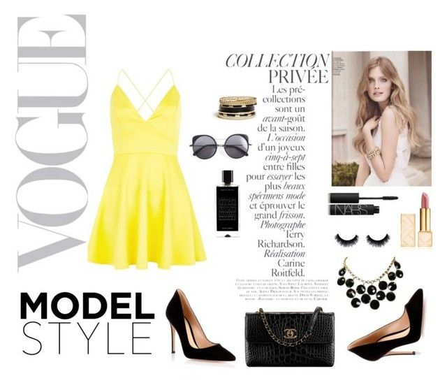 """Vogue"" by mik0112 ❤ liked on Polyvore featuring mode, AX Paris, Gianvito Rossi, By Terry, Kate Spade, GUESS, Wood Wood, NARS Cosmetics, Tory Burch et Agonist"