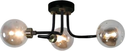Dunelm Tanner Curved Black Glass 3 Light Ceiling Fitting House