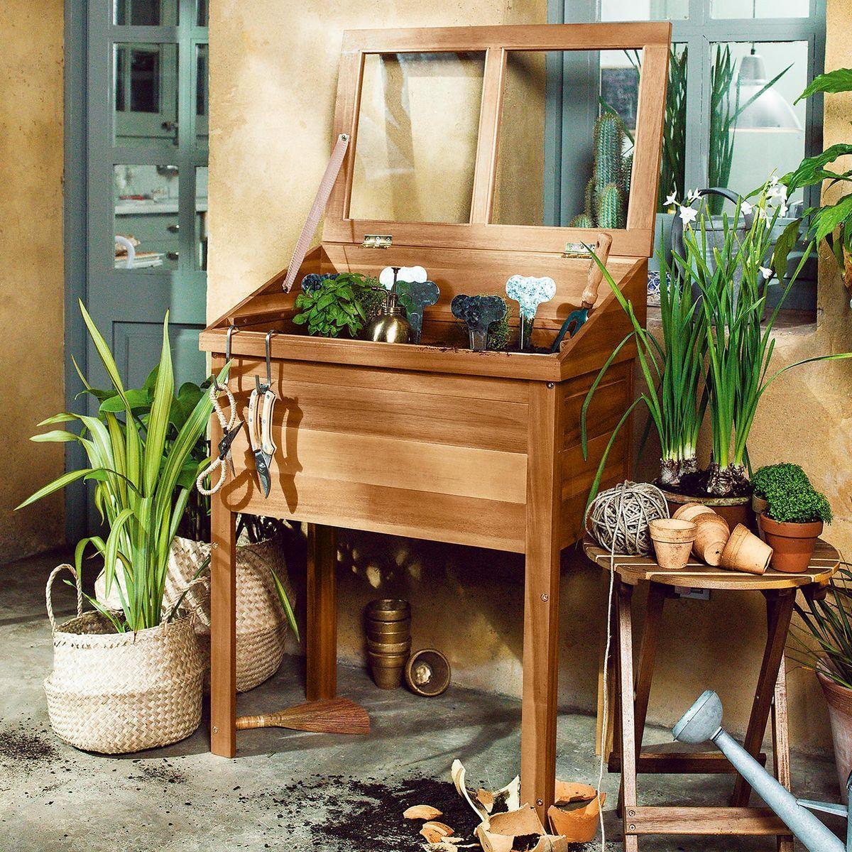 Frühbeet Akazie, FSC 100%, 40x70x94cm, natur, natur | Garten ...
