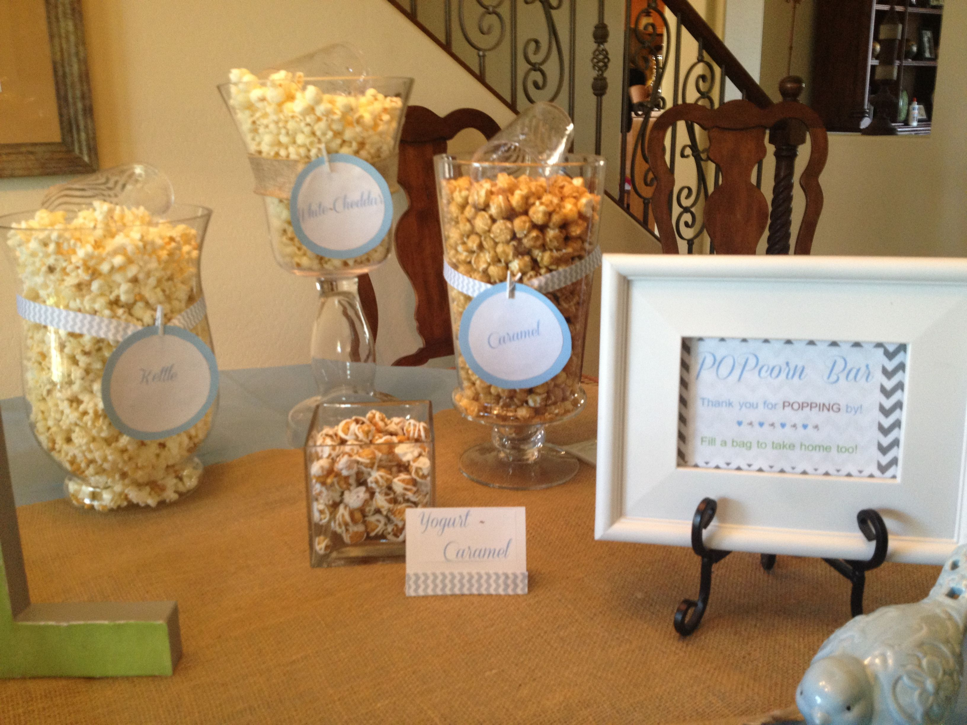 """Popcorn Bar for Teri s baby shower """"She s Ready To Pop """" theme"""