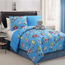 Kids Rocket Reversible Comforter Set With Matching Plush Toy
