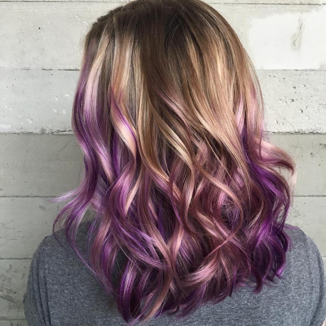 Chestnut Hair With Purple Balayage Purple Blonde Hair Purple Balayage Purple Ombre Hair