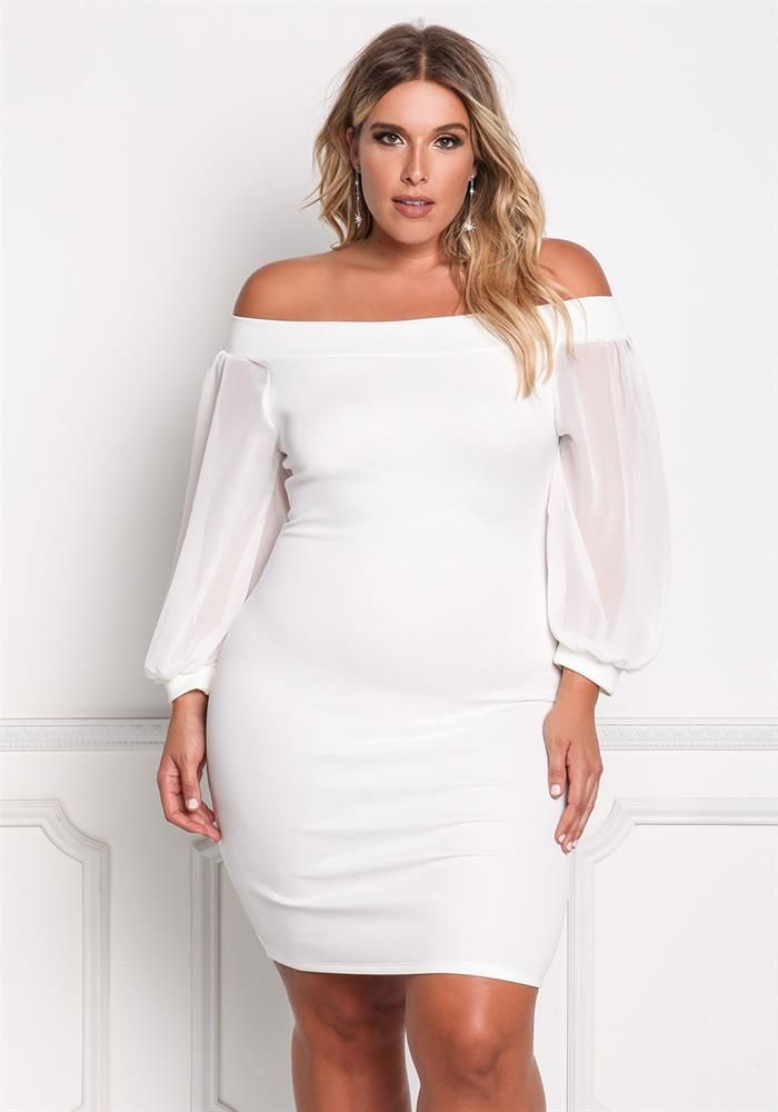 New Plus Size Off the Shoulder Peplum BodyCon Dress with
