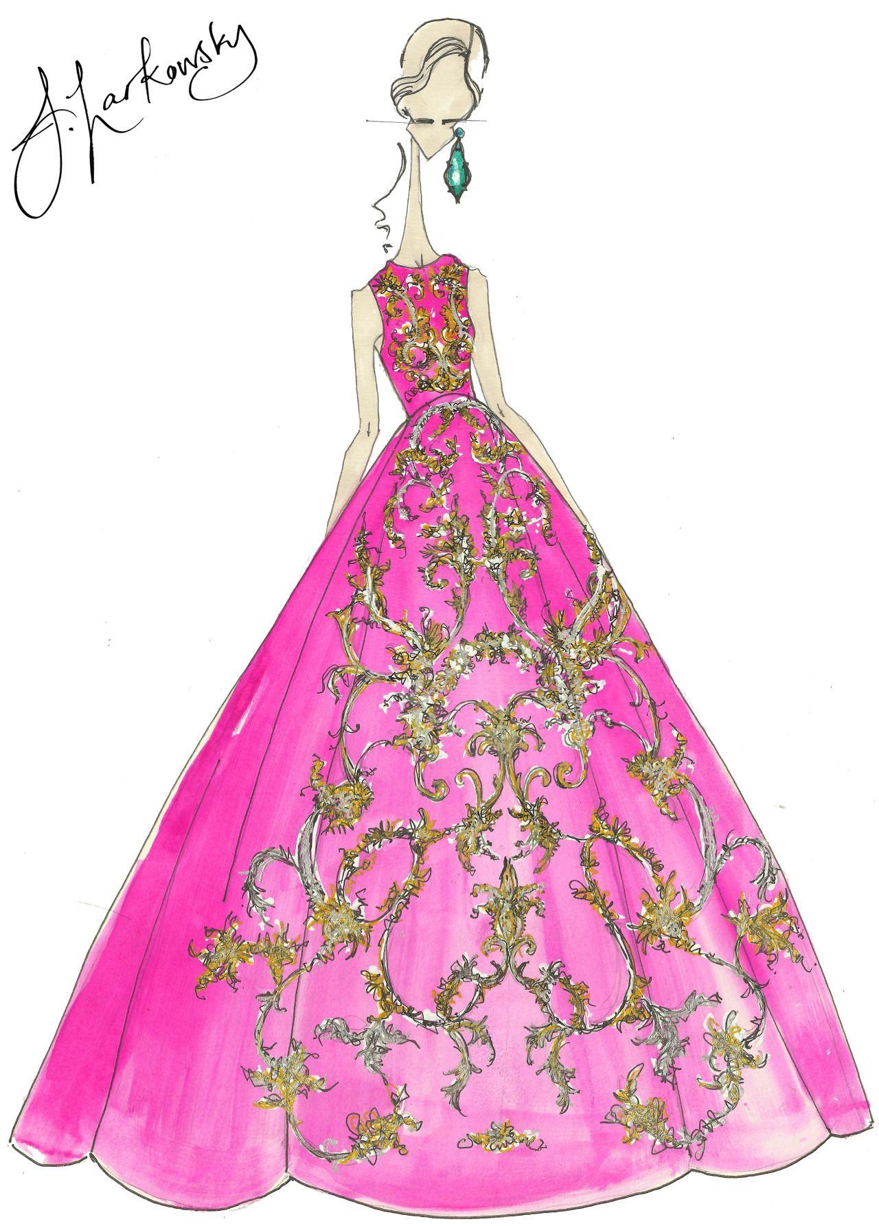 Oscar De La Renta dress fashion re illustration by joseph larkowsky ...