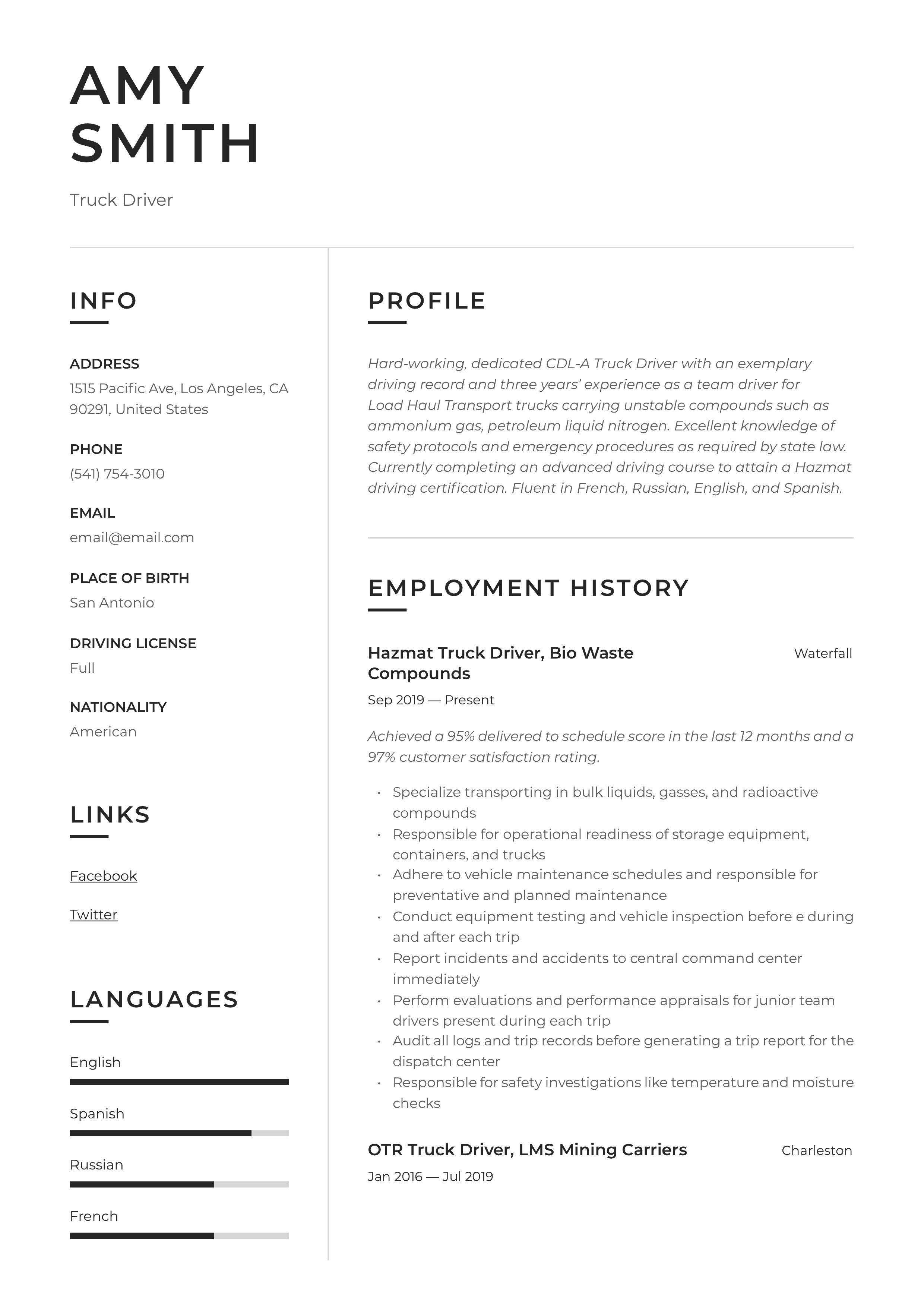 Truck driver resume sample in 2020 resume resume