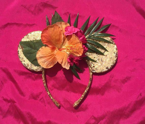 best service 354db 97e95 Disney Minnie Mickey Mouse Ears Moana Palm Hibiscus Tropical Luau Aulani  Polynesian Flower Garden Festival Epcot Floral Gold Sequin