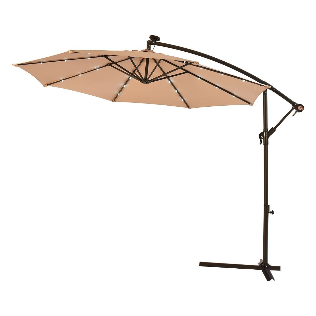 10 Patio Hanging Umbrella Sun Shade With Solar Led Lights Patio Sun Shades Patio Patio Umbrellas