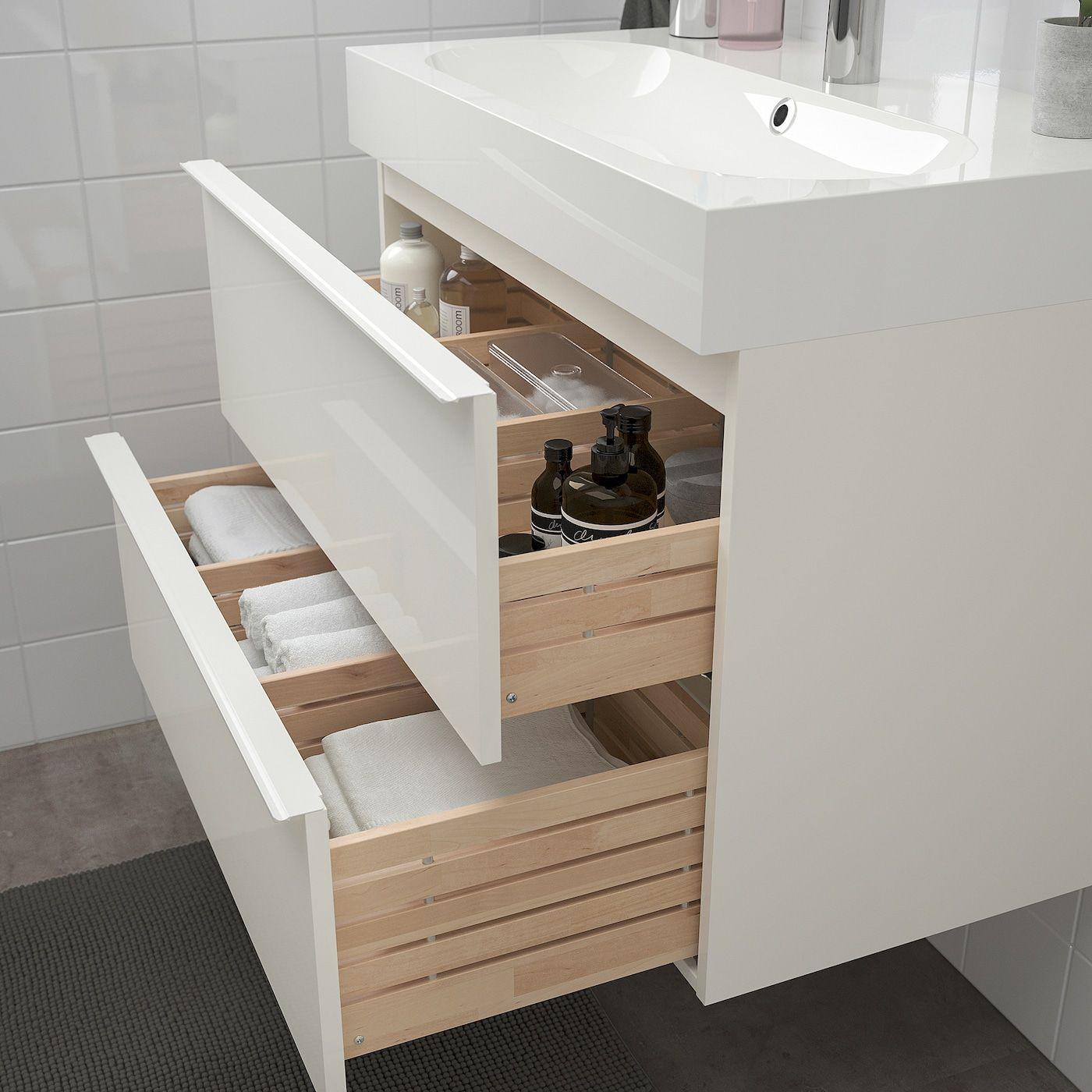 Godmorgon Bråviken Bathroom Vanity High Gloss White Brogrund Faucet Ikea In 2021 Ikea Godmorgon Sink Cabinet Ikea