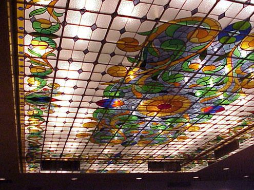 Art Nouveau Stained Glass Ceiling 20 x 30 feet fits in an suspended drop-system