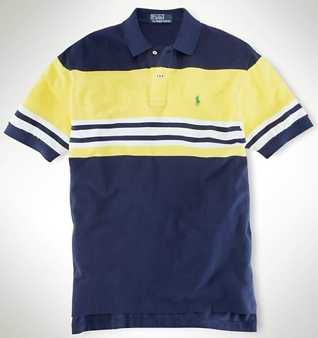 Ralph Lauren Men's Neon Block Short Sleeve Polo Shirt Navy Blue / Yellow  http:/