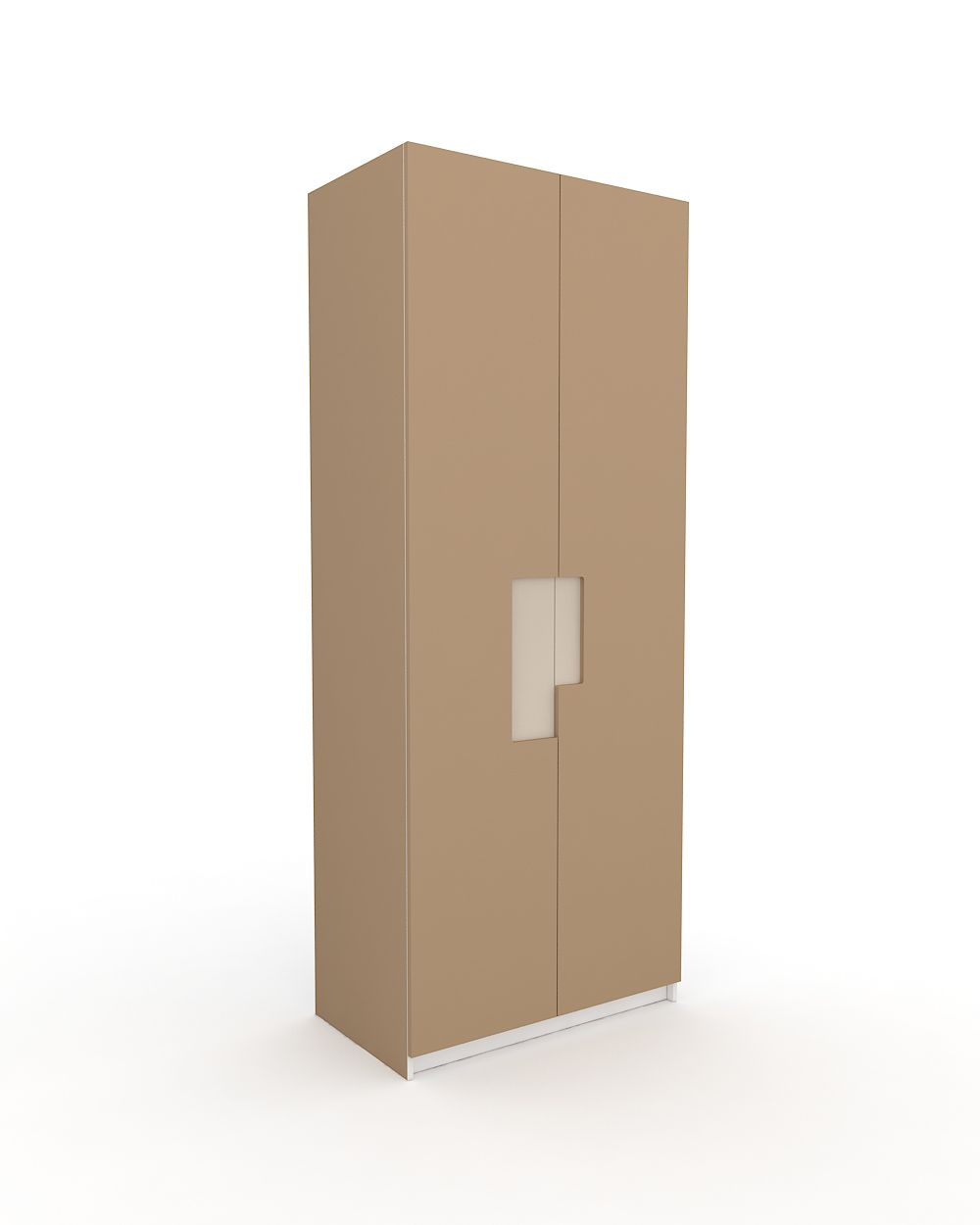 Two-door cappuccino lacquered ARIES wardrobe with beige handle A two-door wardrobe for use in all interior spaces. The innovative compound carved handle with high quality lacquer spreads a sense of refinement and luxury in the space.