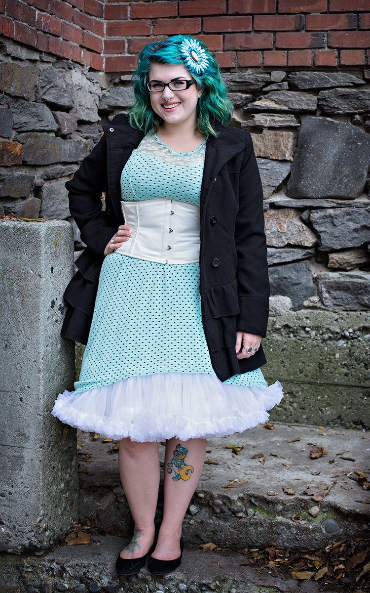 Brittney in CS 301 ivory underbust corset