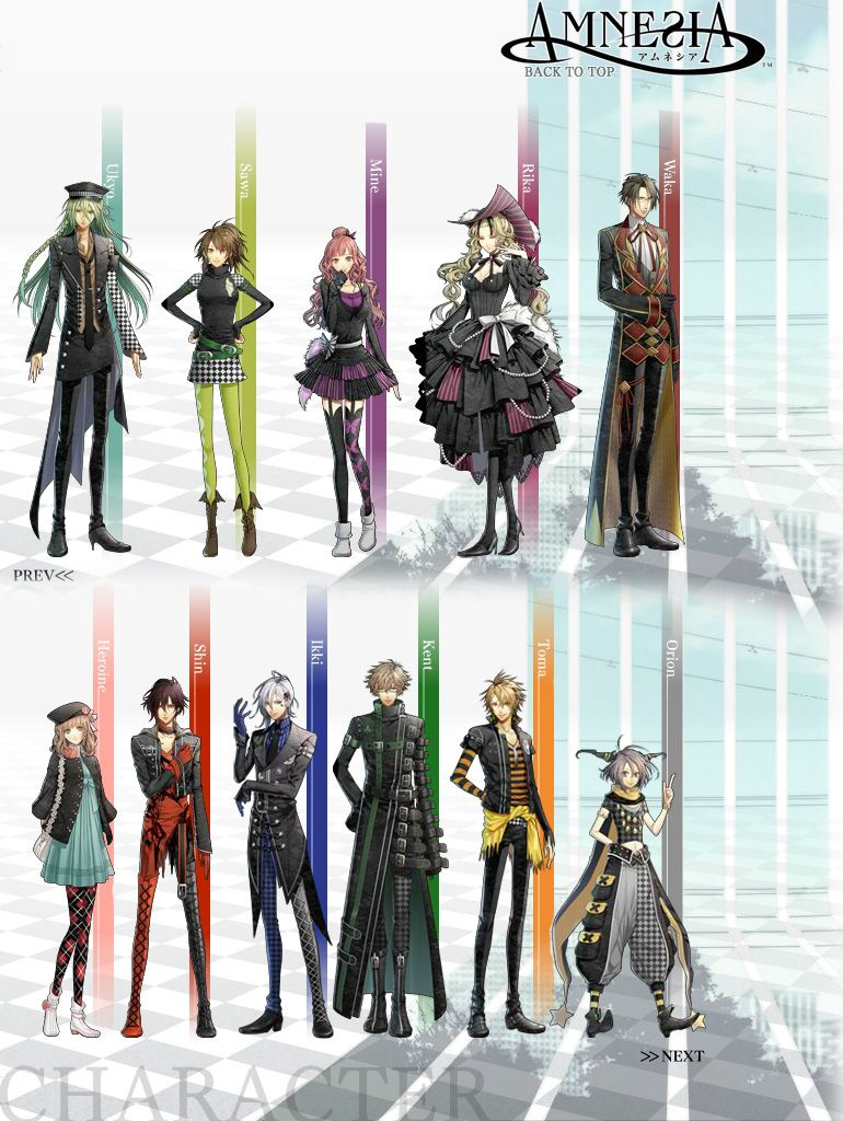 Left, right; top to bottom Uyko, Sawa, Mine, Rika, Waka