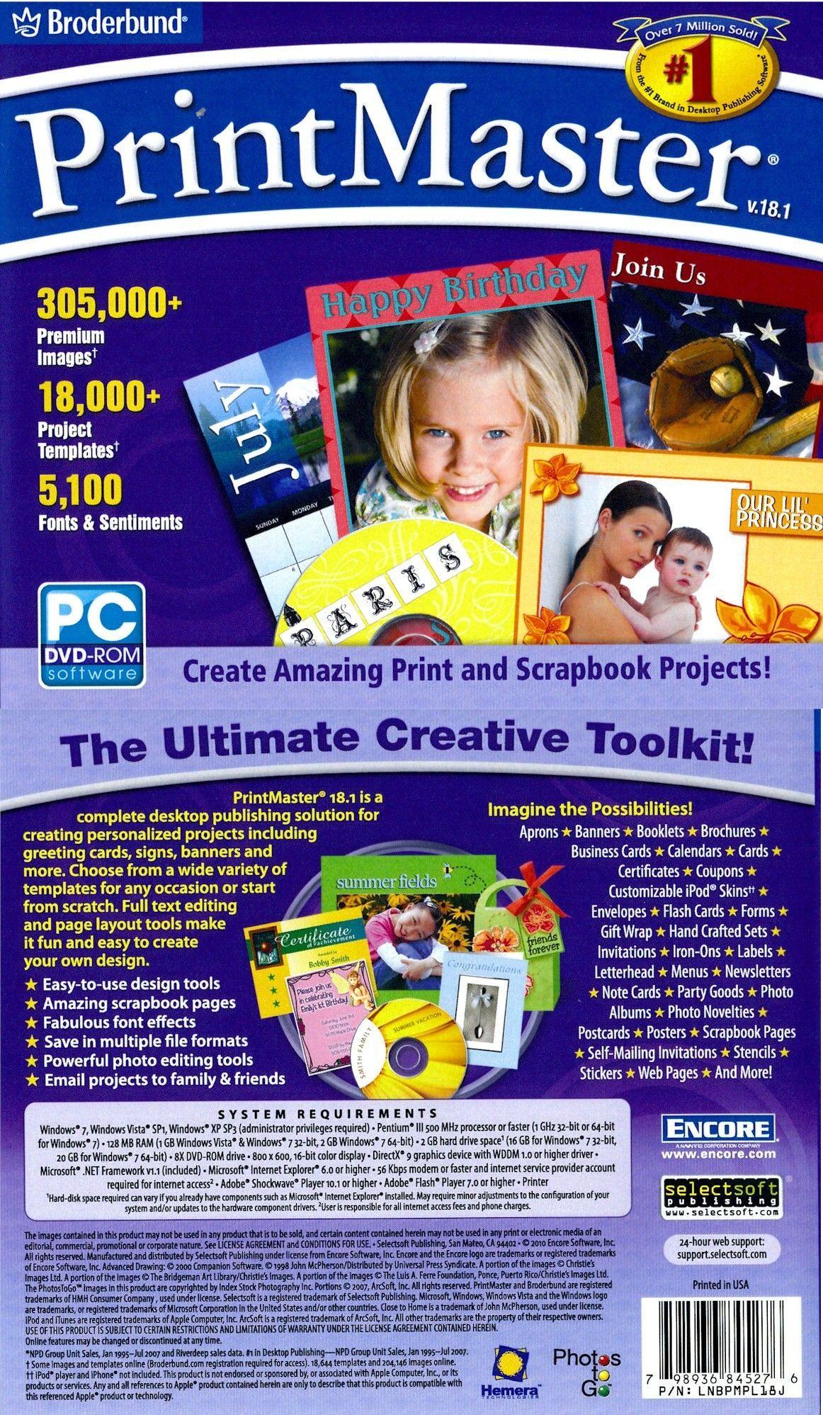 Printshop 23.1 Deluxe 23 Print Shop PC Windows XP Vista Win 7 8 10 New Sealed