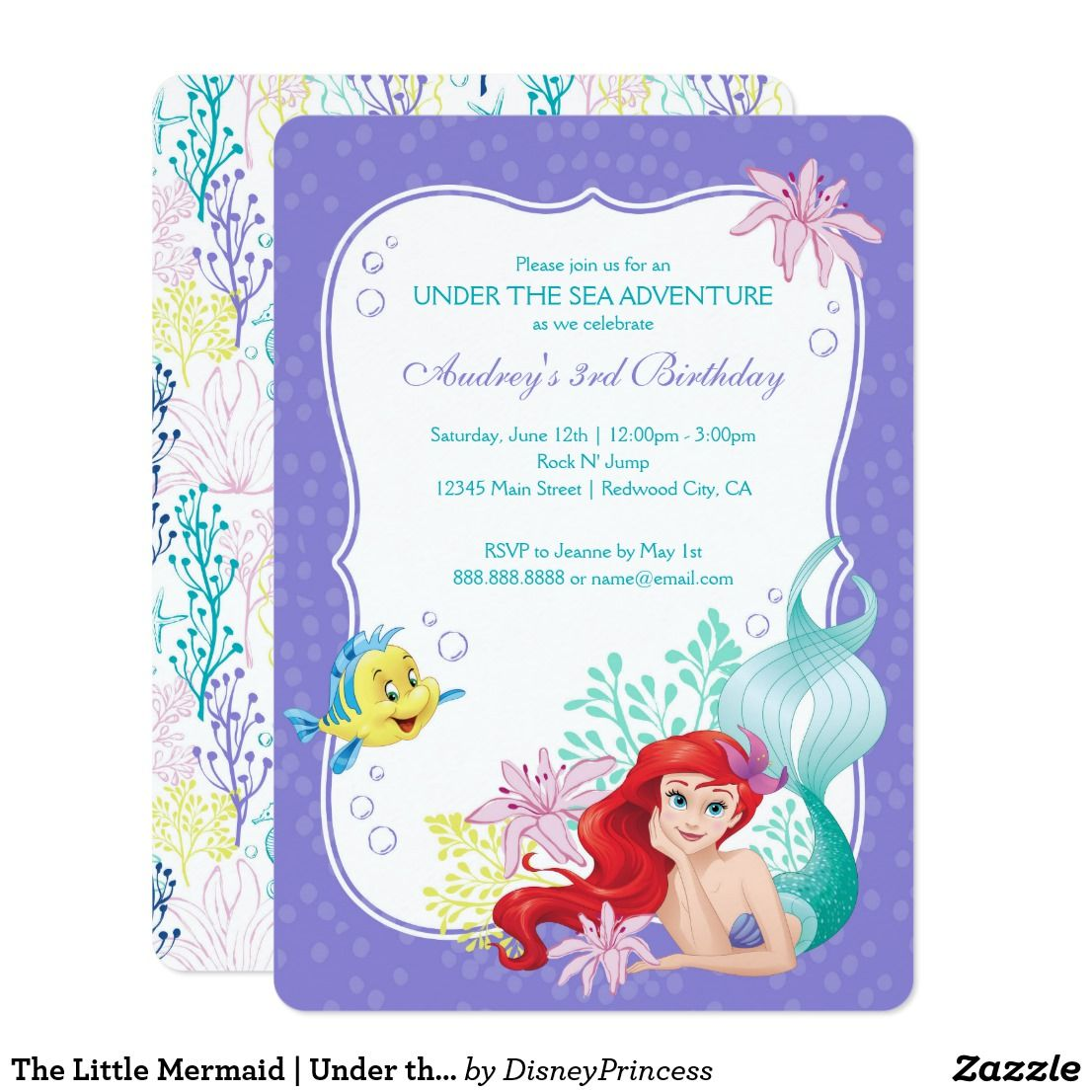 The little mermaid under the sea birthday invitation in