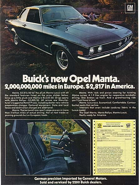 General Motors With Buick Opel Manta Ad Automobile Advertising