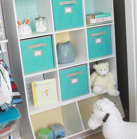 Organized Shelf Baby Room Neat Method Green Bins White