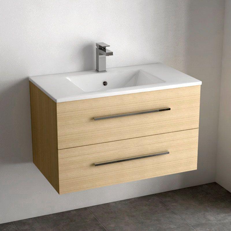Meuble Vasque 80 Cm Chene Clair Link Meuble Salledebain Homedesign Hometrends Bathroom Meuble Vasque Meuble Vasque Bois Meuble Rangement Salle De Bain