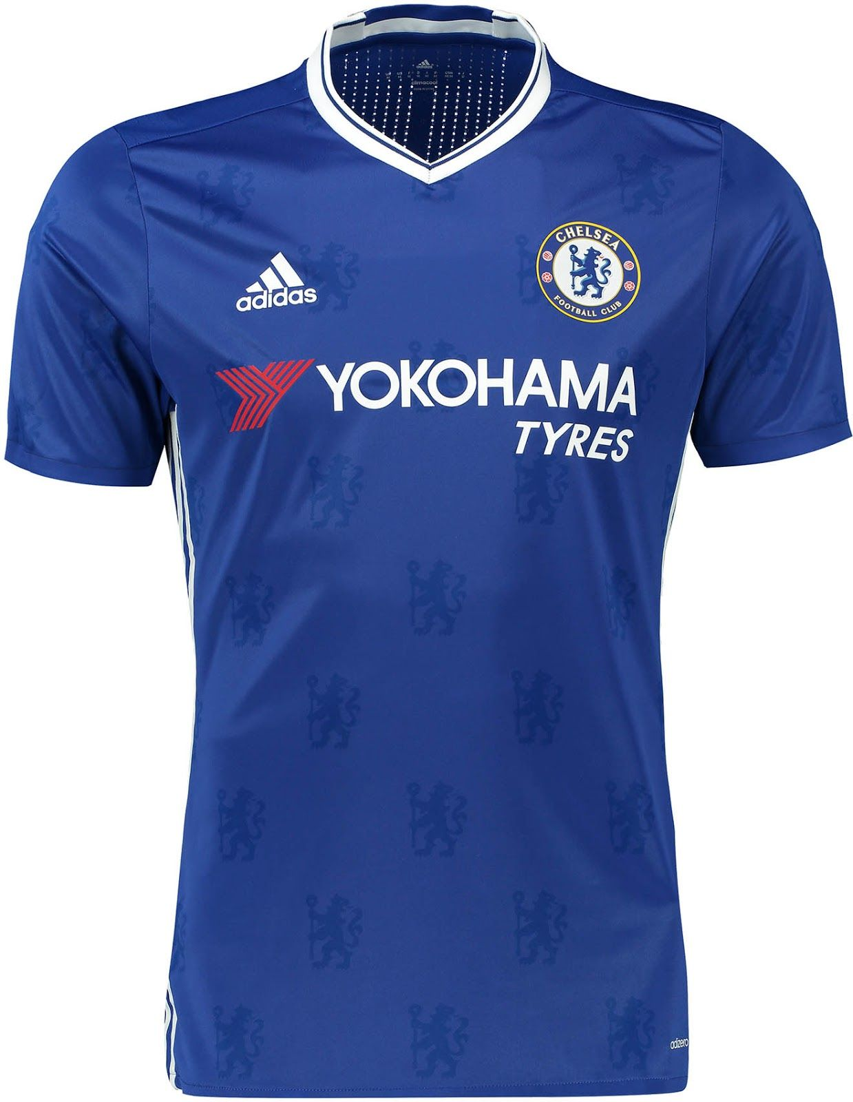 The Chelsea 2016-17 home kit features an all-over print of Chelsea lions