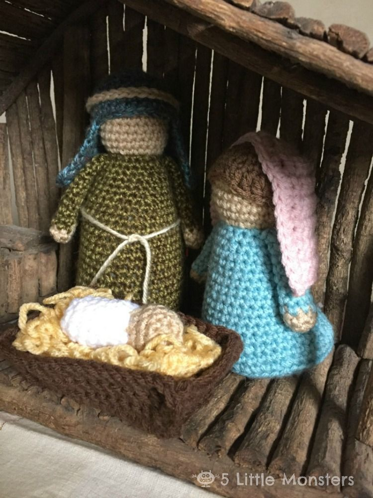 Free pattern for a crocheted nativity set including Mary, Joseph ...