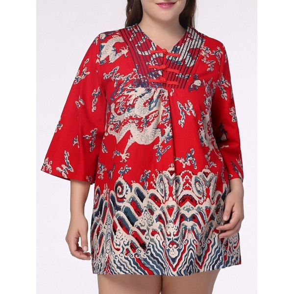 19.3$  Buy here - http://divtw.justgood.pw/go.php?t=184089801 - Ethnic Plus Size Chinese Dragon Print V Neck Women's Dress 19.3$
