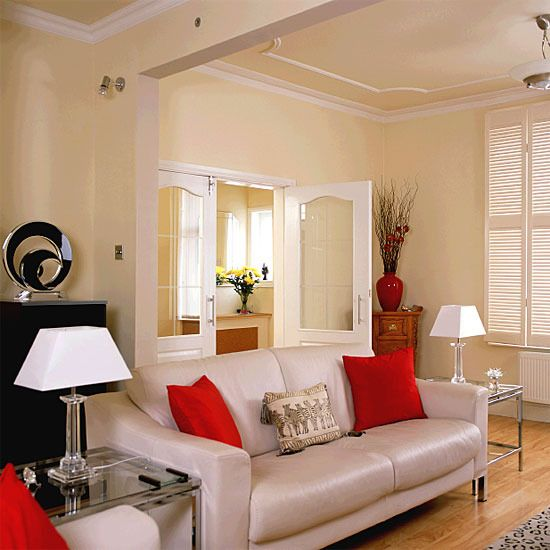 Cream living room with red and black accents | Lived In | Pinterest