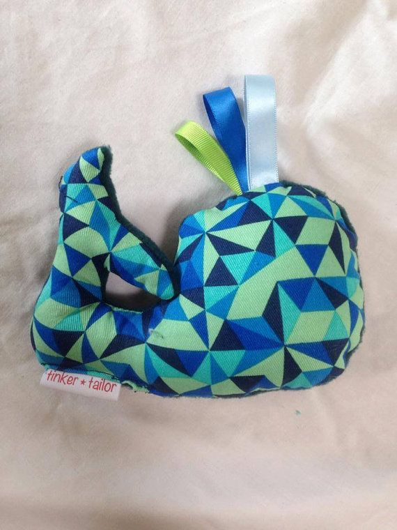 Soft toy whale made with blue and green by TinkerTailorDesign