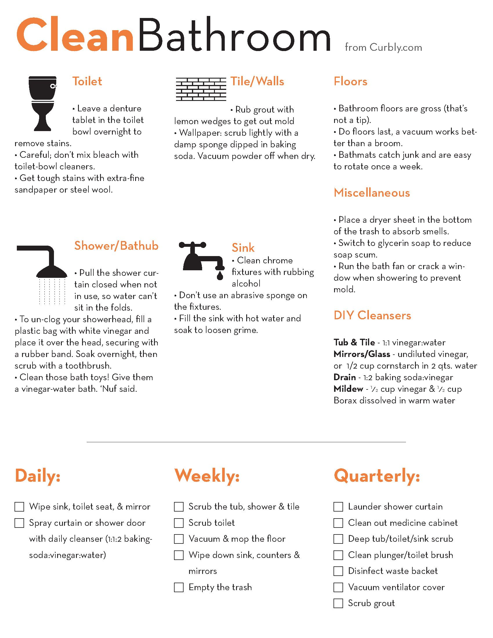A Clean Bathroom Cheat Sheet From Curbly Bathroom Cleaning Cleaning Hacks Cleaning Household