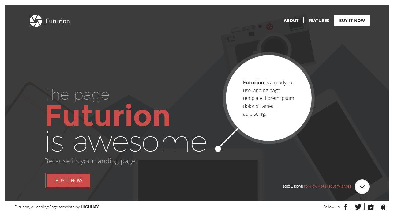 Futurion - Beautiful Landing page template | Pinterest | Template