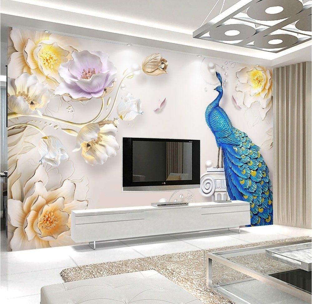 3D Embossed Look Tulip Floral with Peacock Wallpaper Mural