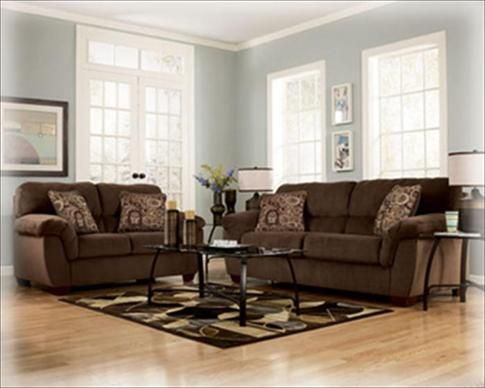 Brown couch with pale blue grayish walls brown furniture - Brown couch living room color schemes ...