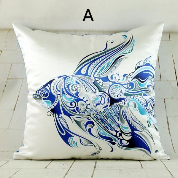 Blue fish throw pillow design sea animal sofa cushions for Fish throw pillows