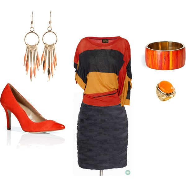 Orange and Gray, created on Polyvore