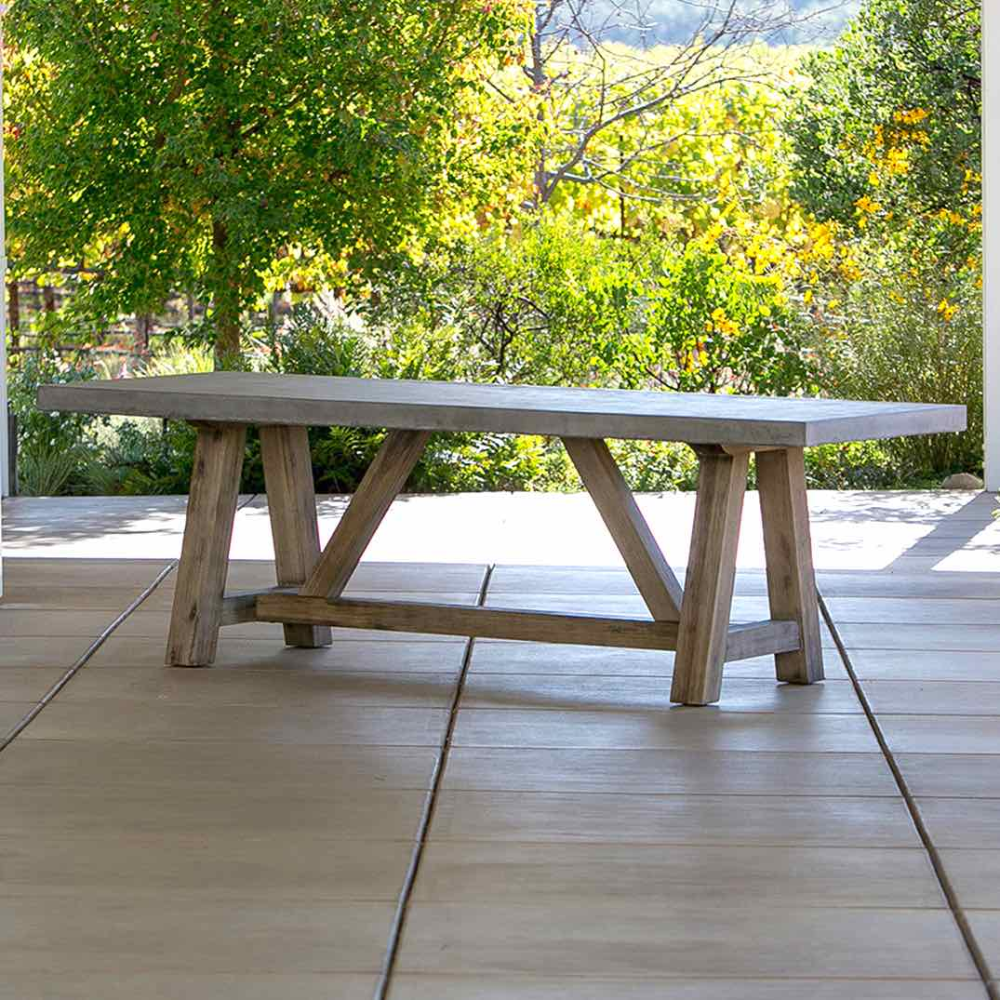 Bordeaux Concrete Top Table Outdoor Furniture Terra Patio Concrete Outdoor Table Outdoor Tables Outdoor Dining Table