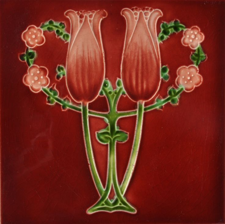 """Antique Art Nouveau 8/"""" x 4/"""" Accent Border Tile 1890s England Pink Flower Design"""