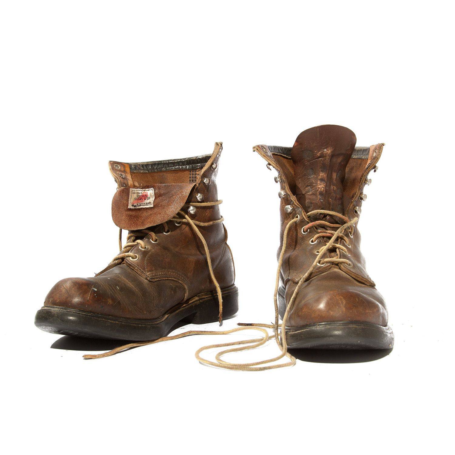 Vintage Red Wing Boots Steel Toe Men's Lace Up Ankle Boots ...