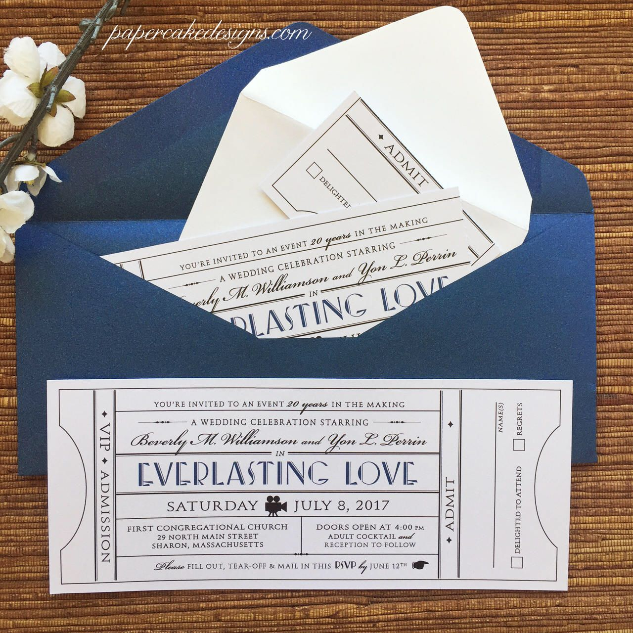 movie ticket stub wedding invitation%0A Vintage Ticket Wedding Invitation with RSVP tearoff stub   Birthday Party  Anniversary Corporate Event
