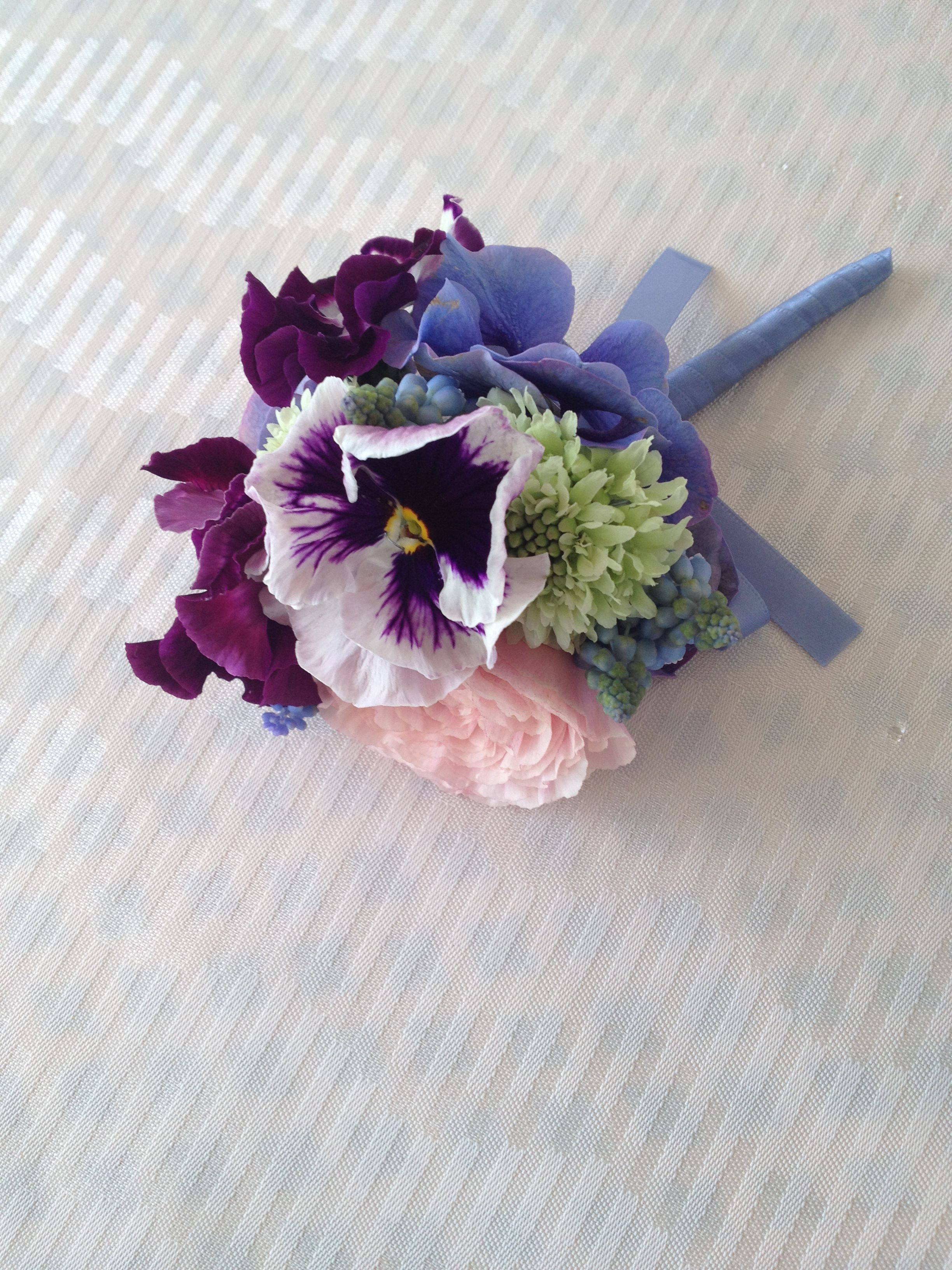Boutonniere Of Pansy And Muscari Floral Wedding Bridal Boquets Wedding Bouquets